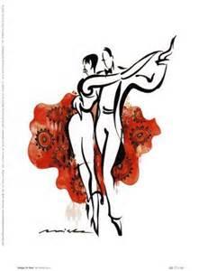 Couple de danseurs de Tango sur fond rouge
