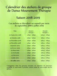 Calendrier 2018-2019 des Ateliers de groupe de Danse Thérapie à Rennes