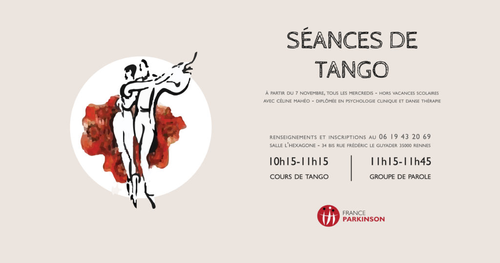 Horaires et renseignements pour les ateliers de Tango-Thérapie à Rennes avec France Parkinson 35