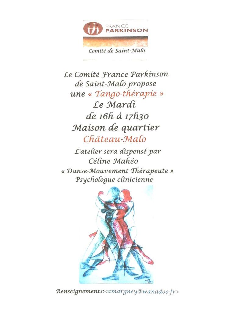 Horaires 16h30-18h00 et renseignements pour les ateliers de Tango-Thérapie avec France Parkinson 35 Saint-Malo