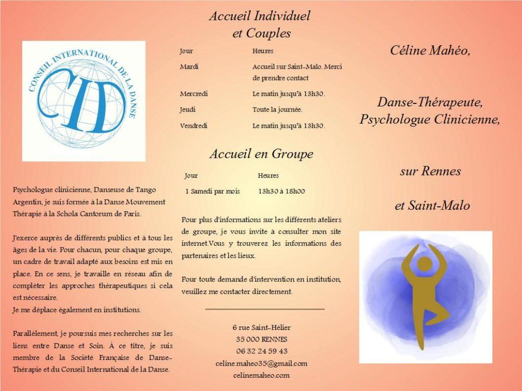 Danse-Thérapie sur Rennes et Saint-Malo : Présentation et Informations dates, horaires, lieux.