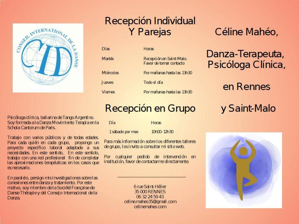 Presentación de la Danza Terapia con : mi formación y los días y horarios de recepción en individual, pareja y en grupos.